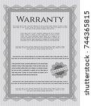 grey retro warranty template.... | Shutterstock .eps vector #744365815