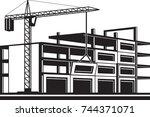 crane installing curtain wall... | Shutterstock .eps vector #744371071