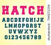alphabet font template. set of... | Shutterstock .eps vector #744371254