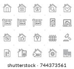 building and real estate icons  ... | Shutterstock .eps vector #744373561
