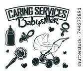 set for vintage emblem design... | Shutterstock .eps vector #744373891
