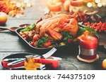 thanksgiving dinner ... | Shutterstock . vector #744375109