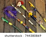 close up with decorated magic... | Shutterstock . vector #744380869