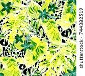 watercolor seamless pattern... | Shutterstock . vector #744382519