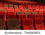 red velvet fabric cloth empty... | Shutterstock . vector #744383851