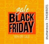 abstract vector black friday... | Shutterstock .eps vector #744385051