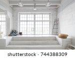 bright photo studio interior... | Shutterstock . vector #744388309
