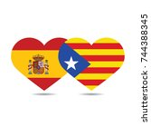 heart shape flag of spain and... | Shutterstock .eps vector #744388345