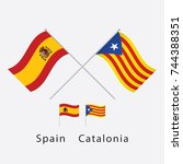 flag of spain and catalonia... | Shutterstock .eps vector #744388351
