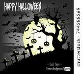 illustration happy halloween....   Shutterstock .eps vector #744388369