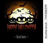 illustration happy halloween.... | Shutterstock .eps vector #744388399