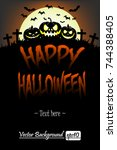 illustration happy halloween.... | Shutterstock .eps vector #744388405