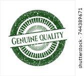 green genuine quality... | Shutterstock .eps vector #744389671