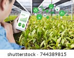 agriculture technology concept... | Shutterstock . vector #744389815