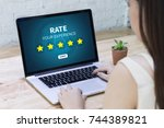 online reviews evaluation time... | Shutterstock . vector #744389821
