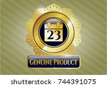 shiny emblem with calendar... | Shutterstock .eps vector #744391075