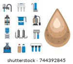 water purification icon faucet... | Shutterstock .eps vector #744392845