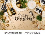 christmas decoration background ... | Shutterstock . vector #744394321