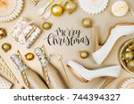 flat lay stylish set  champagne ... | Shutterstock . vector #744394327