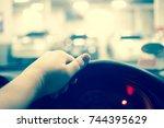 underground parking with car | Shutterstock . vector #744395629