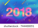 happy new year 2018. fluid...   Shutterstock .eps vector #744400051