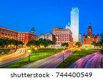 dallas  texas  usa skyline over ... | Shutterstock . vector #744400549