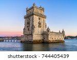 the  belem tower  bel m tower ... | Shutterstock . vector #744405439
