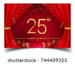 25th anniversary logo with... | Shutterstock .eps vector #744409201