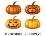 realistic pumpkin set   head... | Shutterstock .eps vector #744409594