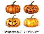 realistic pumpkin set   head... | Shutterstock .eps vector #744409594