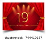 19th anniversary logo with... | Shutterstock .eps vector #744410137