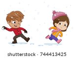 kid playing snow with friends... | Shutterstock .eps vector #744413425