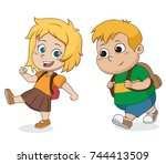 kid waking to school.back to... | Shutterstock .eps vector #744413509