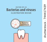 bacterias and viruses with... | Shutterstock .eps vector #744417439