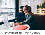 male and female business...   Shutterstock . vector #744424507