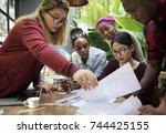 friends people group teamwork... | Shutterstock . vector #744425155