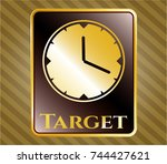 gold badge or emblem with...   Shutterstock .eps vector #744427621