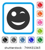 wink smiley icon. flat gray...   Shutterstock .eps vector #744431365