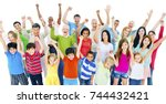 large group of people... | Shutterstock . vector #744432421