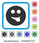 tongue smiley icon. flat gray...