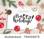 christmas flat lay design with... | Shutterstock .eps vector #744433675