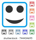 smile icon. flat grey iconic...   Shutterstock .eps vector #744434695