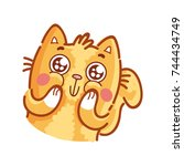 cute ginger cat  adorable ... | Shutterstock .eps vector #744434749