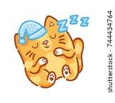 cute ginger cat  sleeping ... | Shutterstock .eps vector #744434764