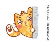 cute ginger cat  hi  hey  hello ... | Shutterstock .eps vector #744434767