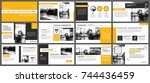 yellow presentation templates... | Shutterstock .eps vector #744436459