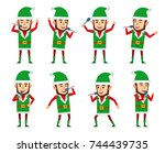 set of christmas elf characters ... | Shutterstock .eps vector #744439735