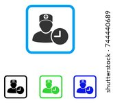 doctor appointment clock icon.... | Shutterstock .eps vector #744440689