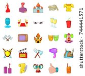 acting skill icons set. cartoon ... | Shutterstock .eps vector #744441571