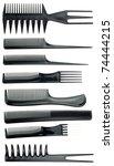professional black comb set on...   Shutterstock . vector #74444215